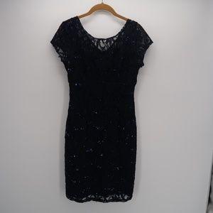 Scarlett Sequined V-Neck Lace Bodycon Navy Dress